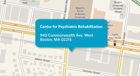 Boston University Center for Psychiatric Rehabilitation location at 940 Commonwealth Ave West, Boston, MA 02215