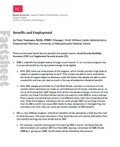 Benefits and Employment fact sheet