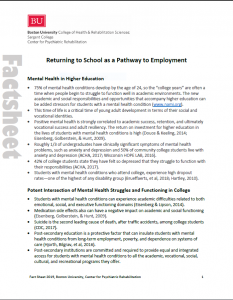 Returning to School as a Pathway to Employment fact sheet