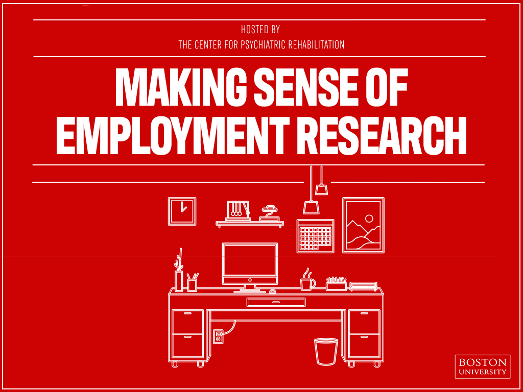 a line drawing of a desk, computer and other office items; text: making sense of employment research